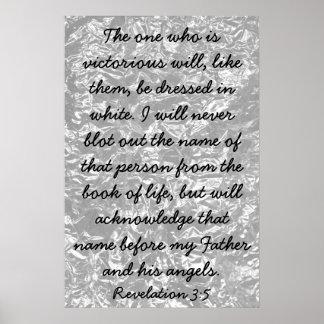 勝利の聖書の詩の暴露の3:5 ポスター