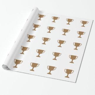 勝者の金ゴールドのトロフィのテンプレートは文字の挨拶を加えます ラッピングペーパー