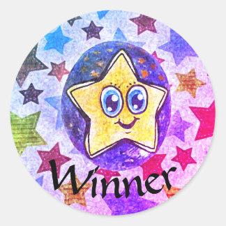 勝者、芸術の星のスケッチのステッカー ラウンドシール