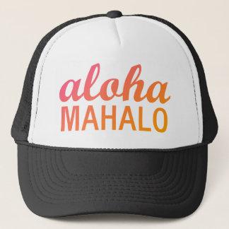 勾配のアロハMahaloのマゼンタのオレンジタイポグラフィ キャップ