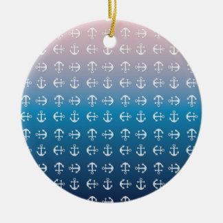 勾配の青いピンク|の航海のないかりパターン セラミックオーナメント