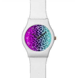 勾配のTiffanyの青いピンクのチータのヒョウのプリント 腕時計
