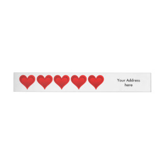 勾配赤い愛ハート + あなたの文字及びアイディア ラップアラウンド宛名ラベル