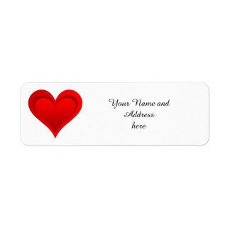 勾配赤い愛ハート + あなたの文字及びアイディア ラベル