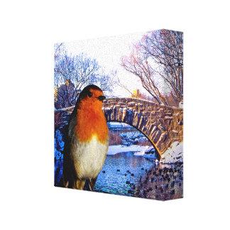 包まれたなキャンバスのためのロビン赤胸のイメージ キャンバスプリント