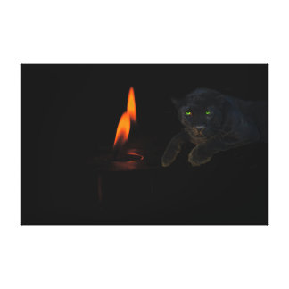 Black panther and candles, on a wrapped canvas