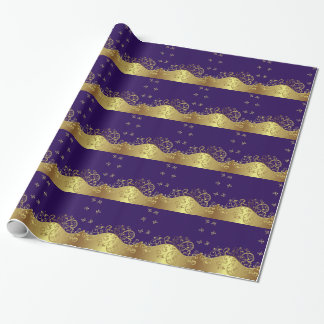 包装紙--金ゴールドの渦巻及び暗い紫色 ラッピングペーパー