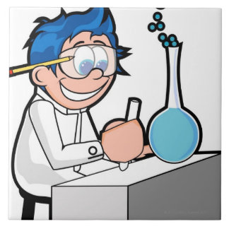 化学に坐っている男の子の側面のプロフィール タイル