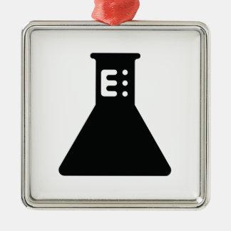 化学ビーカー シルバーカラー正方形オーナメント
