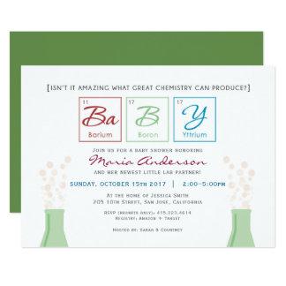 化学ベビーシャワーの周期表の招待 カード