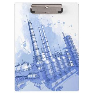 化学製品工場及び水彩画の背景 クリップボード