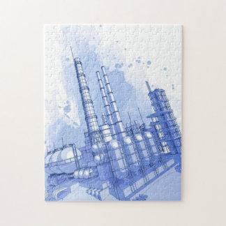 化学製品工場及び水彩画の背景 ジグソーパズル