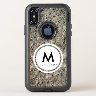 化石の挽肉料理の石灰岩のモノグラム オッターボックスディフェンダーiPhone X ケース
