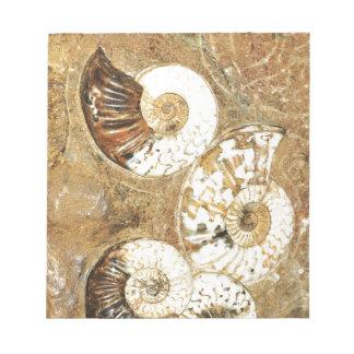 化石の貝が付いている有史以前の背景 ノートパッド