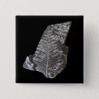 化石化されたシダは黒の写真を去ります 5.1CM 正方形バッジ
