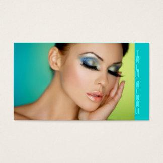 化粧の化粧品の芸術家の半分の顔 名刺