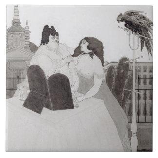化粧台の女性(インクおよび洗浄) タイル