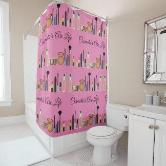 化粧品はかわいらしいピンクが構成する生命です シャワーカーテン