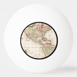 北および南アメリカ(1680-1742年)の地図 卓球ボール