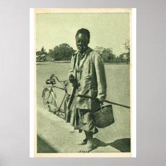 北に自転車を持つアフリカ人、1910年 ポスター