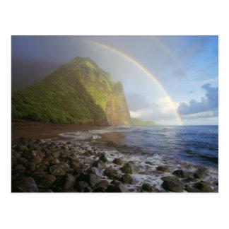北の崖上の二重虹 ポストカード