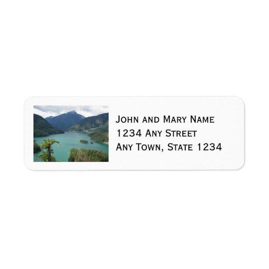 北の滝のdiablo湖の写真 返信用宛名ラベル