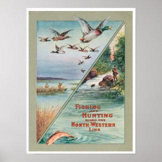 北の魚釣りの狩り西部旅行広告のプリントのポスト ポスター
