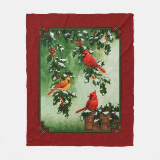 北の(鳥)ショウジョウコウカンチョウおよびヒイラギの赤 フリースブランケット