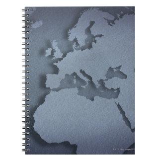 北アフリカを示す青い地球のクローズアップ ノートブック