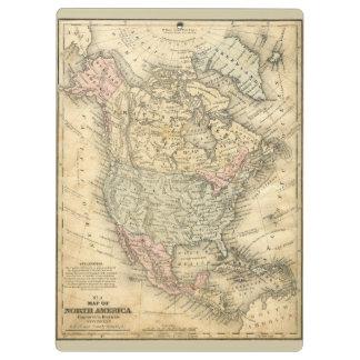 北アメリカのヴィンテージの地図のプリント クリップボード