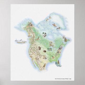 北アメリカの図解入りの、写真付きのな地図 ポスター