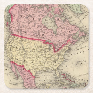 北アメリカの地図 スクエアペーパーコースター