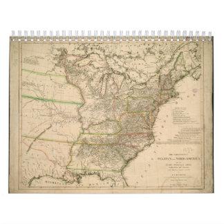 北アメリカの米国の1809地図 カレンダー
