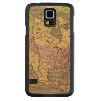 北アメリカ手の着色された地図書の地図 CarvedメープルGalaxy S5スリムケース
