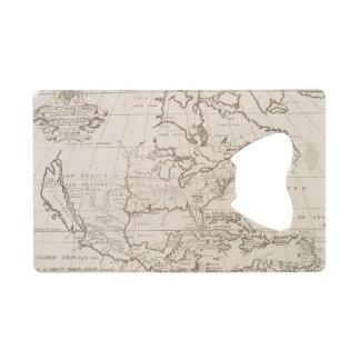 北アメリカ(1719年)のヴィンテージの地図 クレジットカード ボトルオープナー