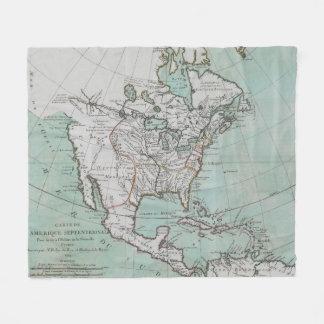 北アメリカ(1743年)のヴィンテージの地図 フリースブランケット