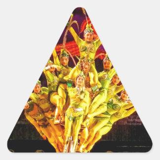 北京のサーカスの曲芸師 三角形シール