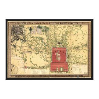 北京の中国(1848年)のロシアのな地図 キャンバスプリント