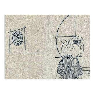 北川町、Utamaro著Bullfinchそして角状フクロウ ポストカード
