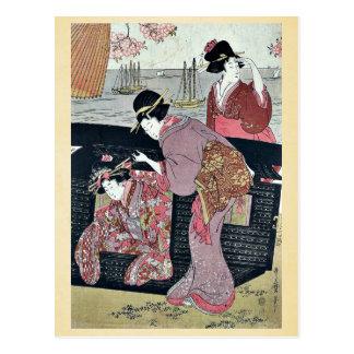 北川町、Utamaro著Gotenyamaのさくらんぼの観覧 ポストカード