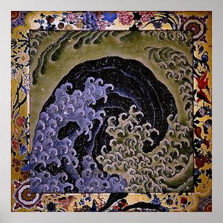 北斎のフェミニンな波のHokusaiのファインアート ポスター