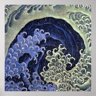 北斎の波、北斎のHokusaiの波、Hokusai ポスター