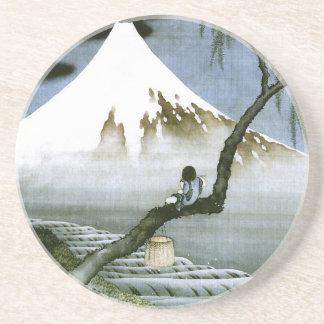 北斎の男の子及びMt富士のファインアート コースター