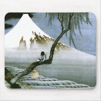 北斎の男の子及びMt富士のファインアート マウスパッド