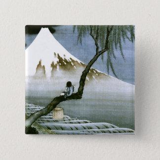 北斎の男の子及びMt富士のファインアート 5.1cm 正方形バッジ