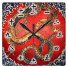 北斎の龍、北斎のHokusaiのドラゴン、Hokusaiの日本芸術 スクエア壁時計