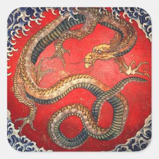北斎の龍、北斎のHokusaiのドラゴン、Hokusai 正方形シール
