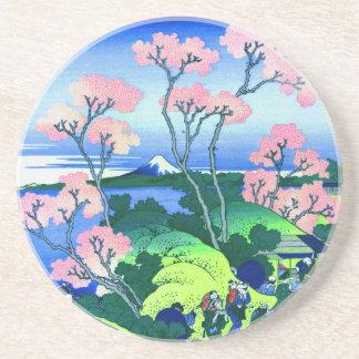 北斎のGoten-Yamaの丘のHokusaiの桜のファインアート コースター