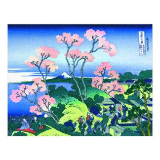 北斎のGoten-Yamaの丘のHokusaiの桜のファインアート チラシ
