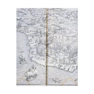 北東ブラジルの地図 キャンバスプリント